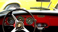 Red on Yellow (Thomas Hawk) Tags: auto sanfrancisco california city usa classic car wheel automobile unitedstates steering 10 background interior unitedstatesofamerica fav20 porsche fav30 steeringwheel carinterior spedometer fav10 clubsportiva fav25 superfave