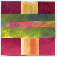 """""""99% Happy""""~ Original Mixed Media Collage by Amy Solovay 2005 ~ Sold. (sugarpinkrose) Tags: 2005 pink orange green art geometric yellow collage catchycolors square gold miniature colorful ebay forsale 4x4 bright amysolovay sugarpinkrose mixedmedia solovay selfrepresentingartist ebsq artsquared small mini tiny"""