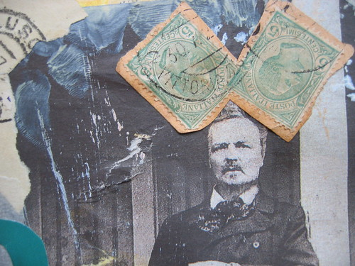 Strindberg with big ears - detail of collage (Copyright Hanna Andersson)