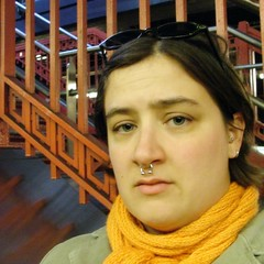 waiting (Miss Plum) Tags: 2005 orange selfportrait me station scarf self underground october waiting camden nj piercing gift nosering patco missplum addie septum clapotis speedline