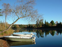 Madawaska morning (Mark Veitch) Tags: fall 05 boats river water boat reflection morning blue green grey white motor motors calm flat mirror tree trees tag1 tag2 tag3 taggedout