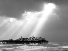 Breakthrough (-RobW-) Tags: ocean uk light sea sky blackandwhite bw storm water topv111 clouds wow landscape lumix sussex pier topv555 topv333 brighton waves interestingness1 gale panasonic mostfavorited bigsky topv777 fz5 brightonpier palacepier mostfavourited