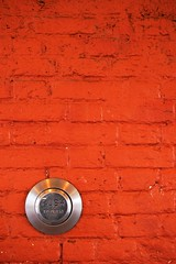 PUSH, To Open (David Maddison) Tags: red negativespace wall button highwycombe mc05negativespace