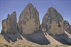 Tre Cime di Lavaredo (Ron Layters) Tags: italy mountain mountains nature geotagged interestingness slide explore valley transparency rescanned dolomites dolomiti pentaxmz10 misurina elevation25003000m dreizinnen mountainsdolomites flickrfly ronlayters slidefilmthenscanned trecimegrandedilaverado geo:lon=122852 cimapiccoladilavaredo cimagrandedilavaredo cimaovestdilavaredo geo:lat=465973 2998m summitcimagrandedilavaredo altitude2998m highestpositioninexplore447onfridayfebruary292008