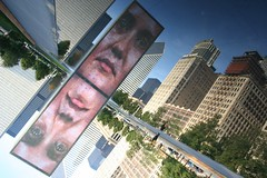 In an upside-down world... (thermophle) Tags: chicago reflection art public canon landscape illinois surreal publicart millenniumpark reflectionsof reflectingpool crownfountain plensa thermophle