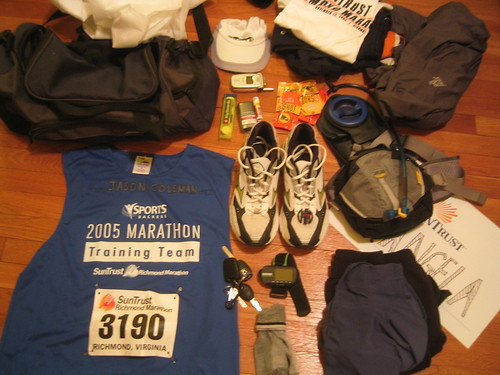 whatsinmybag whatsinyourbag running marathon richmond camelbak mizuno garmin