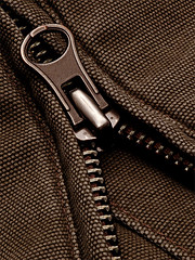 Zip up - classic look (Rune T) Tags: zipper macro metal classic retro texture brown grey focus composition rough jacket themetinythings ykk top20macro topv111 great