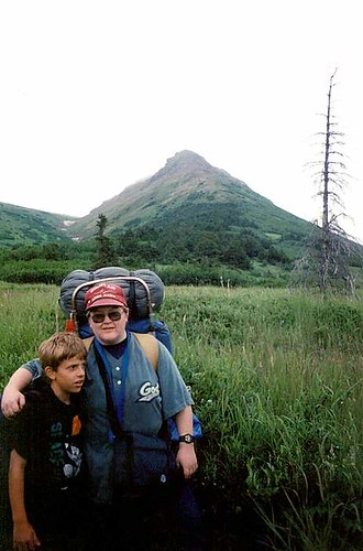 Mel & JJ on backpacking trip to Williwaw Lakes, Chugach State Park, 1997