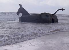 Riding into the sea (gerriet) Tags: 15fav sculpture favorite art beach topv111 geotagged denmark topv999 bunker northsea mostinteresting 1995 mule 1on1 fav1 billwoodrow 999v9f interestingness318 i500 geo:lat=5555 geo:lon=811