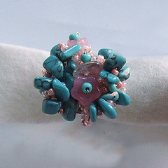 Beaded ring - turquoise (craftapalooza) Tags: beadedjewellery beadedjewelry beads ring bead