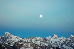 Moon over Dent Blanche and Matterhorn (celestialpilgrim) Tags: alps switzerland swiss dent alpine mystical matterhorn blanche celestial cervin