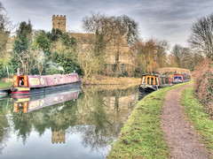 Shipton Wharf (Robert Silverwood) Tags: reflection church water beautiful wonder boat canal topv333 bravo 100v10f oxfordshire hdr narrowboat oxfordcanal photomatix interestin