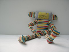 Look at me! I used to be a shirt... (Lizette Greco) Tags: toy doll recycled plush softie enzo recycle katamari stripy greco lizette lizettegreco sweedy5 feltclub grecolaborativo