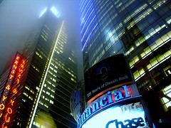 looking up (nj dodge) Tags: nyc topf25 colors fog night lights 500v20f manhattan listeningto midtown timessquare viewlarge reuters h20 ernstyoung 1000v40f johnhiattanthology