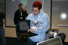 Chris with OS X on Thinkpad (mastermaq) Tags: travel vancouver technology events blogging conferences northernvoice chrispirillo mastermaq nv06 moosecamp northernvoice2006 photocamp
