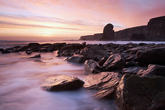 (mystery.me) Tags: uk longexposure morning pink sea england cliff seascape 20d beach water yellow sunrise canon landscape dawn coast rocks waves north shoreline magenta wave cliffs stack shore nd land coastline northeast southshields tidal marsden souter mysteryme 1740l replaced marsdenbay ef1740mmf4lusm ndgrad 2stop garyshrimpling