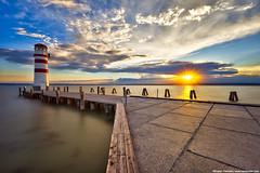 Sun at the lighthouse (Miroslav Petrasko (hdrshooter.com)) Tags: sunset sun lighthouse lake water clouds austria hdr podersdorf neusidlersee photoengine oloneo