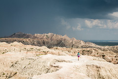 Dramatic Sky in The Badlands (GlobalGoebel) Tags: sky 3 storm clouds southdakota canon person eos drive nationalpark mark ominous iii scenic dramatic whiteriver valley 5d thunderstorm hiker badlands overlook badlandsnationalpark approachingstorm mark3 markiii badlandslooproad