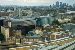 View from the 22nd floor from Guy's Hospital (LFaurePhotos) Tags: street bridge england london tower station buildings cityscape photographer aerialview trains canarywharf riverthames
