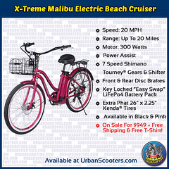 X-Treme Malibu Electric Beach Cruiser (urbanscooters) Tags: xtreme malibu electricbeachcruiser electricbike beachcruiser shimano powerassist lifepo4 lithium liion beachcruisers electricbikes bike bicycle bikes bicycles coupon
