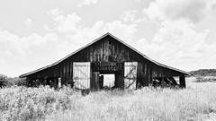 Through And Through (John Westrock) Tags: abandoned barn blackandwhite contrast kentucky clouds canoneos5dmarkiii canonef2470mmf28lusm symmetry farm rural
