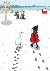 Walk on 2017 (Hilo Tomula) Tags: hilo tomula hilotomula トムラ ヒロ とむら rooster zodiac bird swan duck lake snow ice skating fishing smelt new year card silk screen poster design 年賀状 2017 illustrator illustration work art painting drawing painter skate holiday nengajo greeting white character cap scarf message knit illust girl kids cartoon lakeside season graphic cygne cigno cisne pájaro uccello oiseau children ひろ hiro tomura chicken