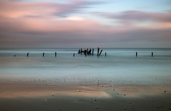 Sea of Tranquility (Number Johnny 5) Tags: shoreline tranquil d750 2470mm sunset seashore long serene light clouds tamron sea sky shadows uk beach imanoot angles nikon exposure east lines defences seascape happisburgh anglia norfolk colour
