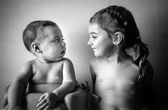 Sisters (Shooting Ben) Tags: girls sisters love family children hug holding cuddle blackandwhite bw olympus 35rc olympus35rc caffenol
