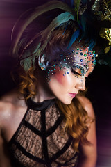 Stardust Woman (lunahzon) Tags: stardustwoman kathygfeller kathyshyne alchemyinimagery jewels magical feathers highart colorful galaxy space makeup avantgarde redhead charlotte nc portrait fashion