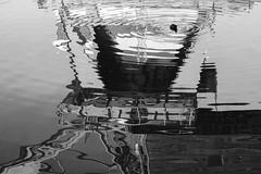 Waterfowl, trying  to understand crane reflection (Eric Spies) Tags: wasservogel waterfowl water bird hafenkran kran hafen harbor harbour crane mirroring reflektion spiegelung kleve cleve cleves nrw niederrhein nordrheinwestfalen deutschland germany schwarzweiss blackwhite bw sw mono monochrom monochrome reflection spoykanal spoy hafengelände hafenbecken hafenkanal hochschule rheinwaal fuji fujifilm fujinon xt10 xc1650 docks port