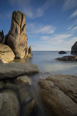 Rocher du Goudoul (Philippe Saire || Photography) Tags: ocean light sea sky mer seascape france nature water rock stone clouds canon landscape photography eos coast photo brittany eau long exposure mark pierre iii horizon shoreline bretagne wideangle cte breizh ciel shore lumiere 5d coastline usm fullframe nuages paysage ff ef 1740mm rocher jete hoya bzh finistre cokin nd400 littoral f4l lesconil gnd4 p121m goudoul pleinformat philippesaire kersauz