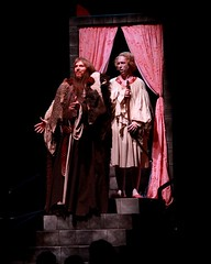 """Steven Strafford (right) as Prince Herbert and Ron Bohmer as his father in the 2010 Music Circus premiere of the Tony Award-winning Best Musical """"Monty Python's Spamalot"""" at the Wells Fargo Pavilion, July 9-18.  Photo by Charr Crail."""