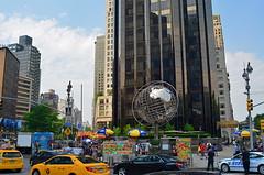Columbus Circle (MPnormaleye) Tags: plaza urban food statue globe traffic manhattan neighborhood textures sphere utata vendors