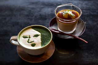 抹茶カプチーノとほうじ茶プリン - よーじや銀閣寺店 / Yojiya Ginkaku-ji Temple Shop