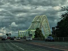 Approach to the Runcorn Bridge (foggyray90) Tags: cloudy suspensionbridge jubileebridge merseyside halton widnesruncornbridge