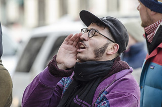 A Protester Shouts During an Anti-Tear-Gas Demonstration Outside the U.S. Department of Justice