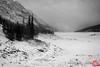 Disappearing lake (Kasia Sokulska (KasiaBasic)) Tags: fujix canada alberta jaspernp winter rockies mountains medicinelake landscape bw