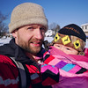 Winter father and daughter