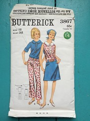 Butterick 3867 (kittee) Tags: kittee vintagesewing vintagepattern butterick 3867 butterick3867 nodate 1960s 1970s blouse skirt pants kerchief bandana hipster bellbottoms hiphugger selfcarriers peterpancollar placket frontbuttonclosing sleeveless tabfront rollupsleeves size12 bust32 accessories kitteemustmake sewing sewingpattern vintage pattern