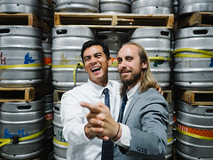 Yovanny & Brian (BurlapZack) Tags: olympusomdem5markii olympusmzuiko17mmf18 vscofilm pack01 fortworthtx ftworthtx martinhousebrewery wedding reception tango takestwototango party kegs warehouse portrait bokeh dof availablelight handheld happy laugh laff