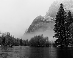 Three Brothers and Merced River, Yosemite National Park (4 Corners Photo) Tags: 4cornersphoto blackandwhite california clouds cold conifer fog forest geology landscape mariposacounty mercedriver mist monochrome mountains northamerica rock rural scenery sierranevada sky snow storm threebrothers tree unitedstates water weather winter yosemitenationalpark yosemitevalley us