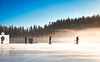 Always look ahead. Keep your spirits and determination unshaken, and you shall always walk the glory road. (Ingrid.la) Tags: winter adventures people skating frozen lake rockies alberta canada mountains fog ice