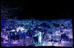 The fantastic night village (Sebmanstar) Tags: art creation creative creatif transformed manipulation photoshop research couleur color campagne landscape travel pentax photography normandie normandy france french imagination imagine original light digital fantastic village