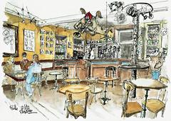 Café du Boulevard, Melle (Croctoo) Tags: croctoo croquis croctoofr café melle poitou poitoucharentes aquarelle watercolor
