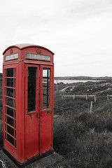 Isolated public phone box on the Isle of Lewis (Dave Russell (1.5 million views thanks)) Tags: phone telephone box red british scot scottish outer hebrides isle island lewis scotland scene scenery view vista landscape outdoor canon crulabhig crulivig public call kiosk colour color autofocus