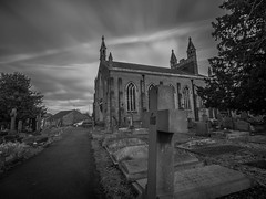 Welding Glass at Local Church (RS400) Tags: welding glass black white cool wow wicked amazing landscape olympus long exposure slow shutter speed curch church art buildings uk bristol christ