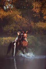 The Legend of Epona (magdalena.russocka) Tags: trees light sunset horse woman sun mist colour tree nature water girl mystery lady sunrise river woods colours dynamic country story fairy mysterious emotional splash legend tale epona narrative storytelling mistery myst