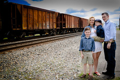 Railroad Family (Photos By Bill in WV) Tags: railroad family blue boy baby love boys car clouds train children mom happy parents kid dad skies brothers brother father mother husband rail son siblings blonde wife casual boxcar caring sibling sons