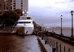 Ocean-going Yacht, North Cove 7-15-2015. (sjnnyny) Tags: waterfront sightseeing boating hudsonriver luxury motoryacht batteryparkcity lowermanhattan newyorkharbor verranzanonarrowsbridge stevenj brookfieldplace pentaxk5iis sjnnyny northcovemoorings