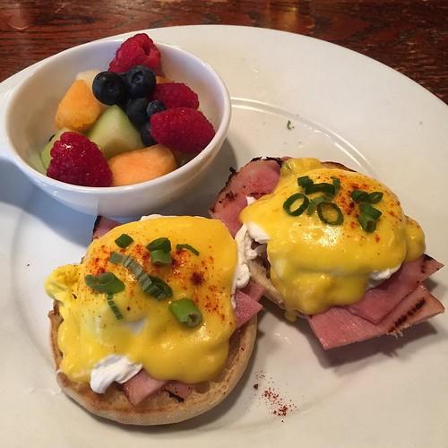 Breakfast. The Eggs Benedict are decent. Eggs were soft boiled, so a few minutes too long and no lovely liquid gold. The hollandaise was a bit tart as well. The fruit cup was a home run, all of my favorites in there. Hell, looks like tossed it together. I